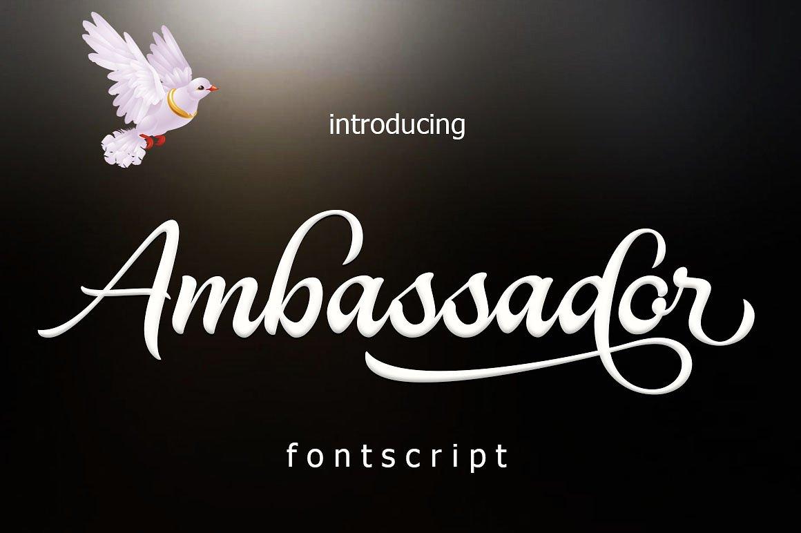 Ambassador script fontlot. Com.