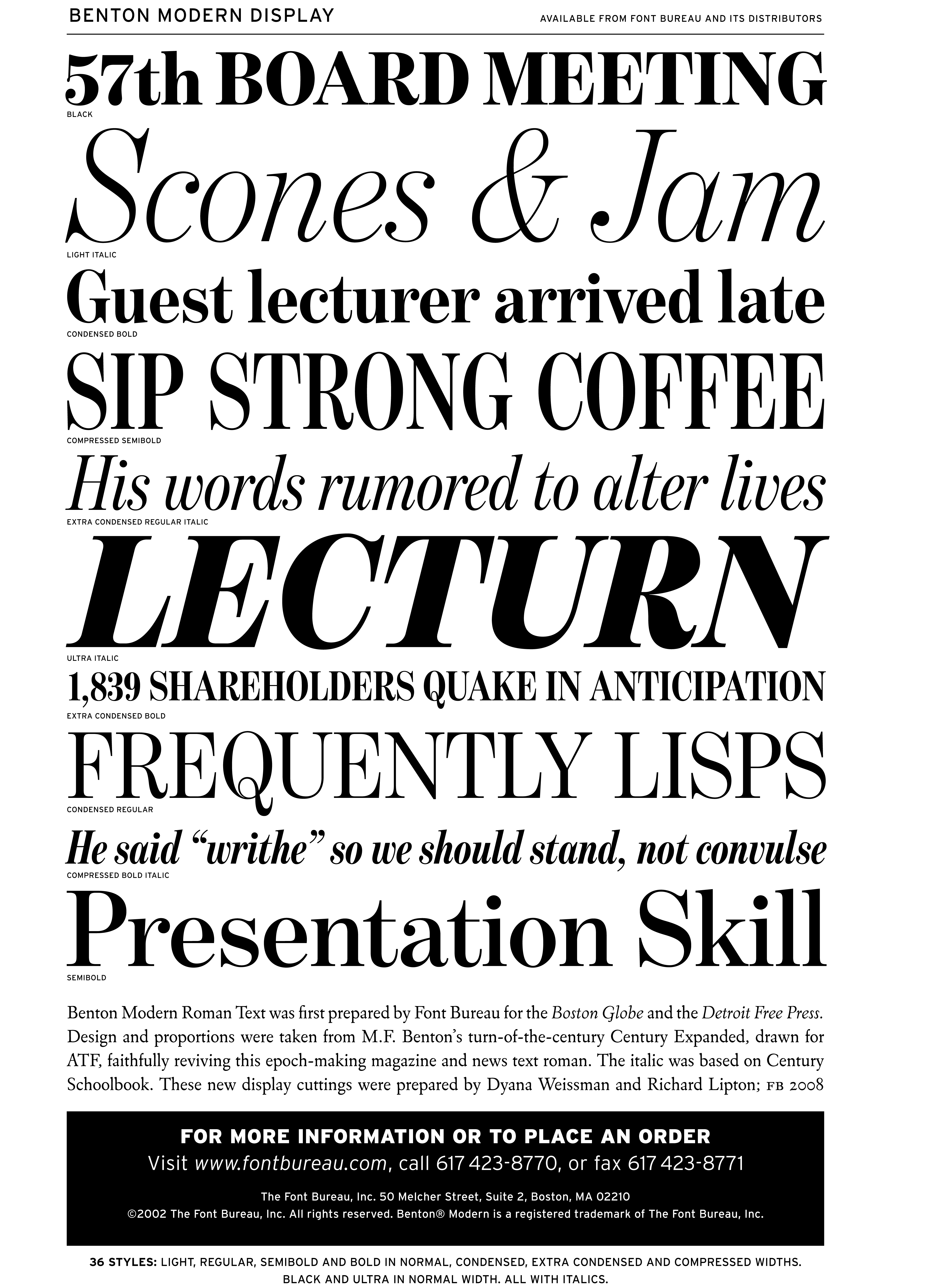 The Italic Was Based On Century Schoolbook These New Display Cuttings Were Prepared By Dyana Weissman And Richard Lipton Among Other Uses Benton Modern