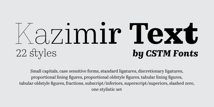 Kazimir Text Font Family