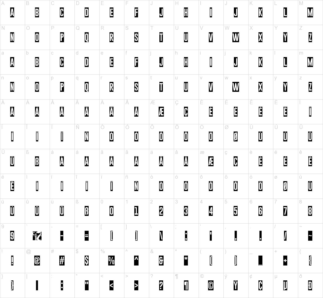 81  square block letter font